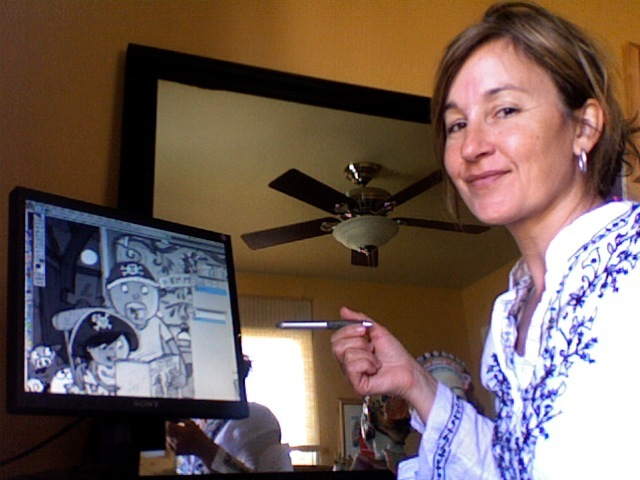 Mary Sullivan at her computer