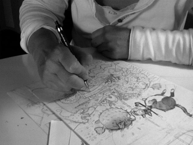 Mary Sullivan draws on a warmerday.