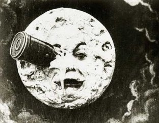 "The moon from the 1902 film, ""A Trip to the Moon"" one of the hundreds of fantasy films made by George Melies"
