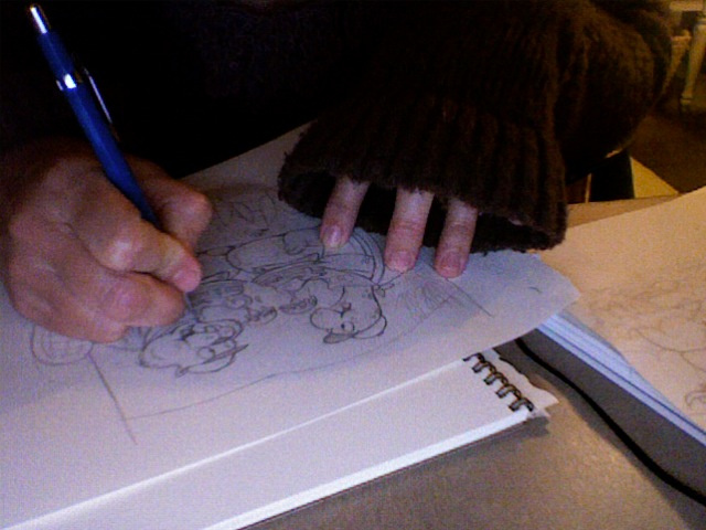 Mary Sullivan works on her initial drawing (on a cold day.)