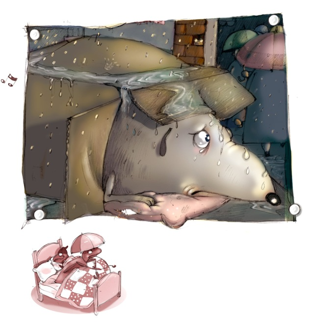 Rat outside in the rain Mary Sullivan illustration