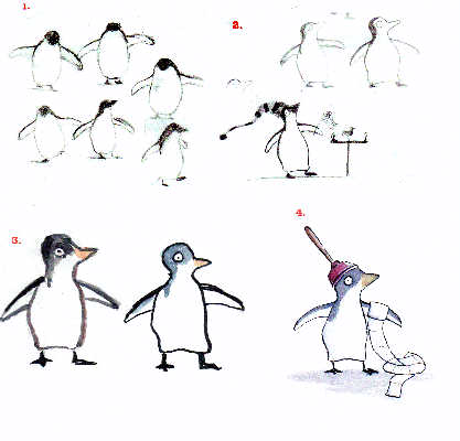 Sarah wanted Patrick to look more like a penguin than a cartoon penguin and to not have a cartoony 'personality.'