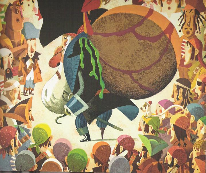 'Sir Peg' with the men. Illustration by Sebastia Serra