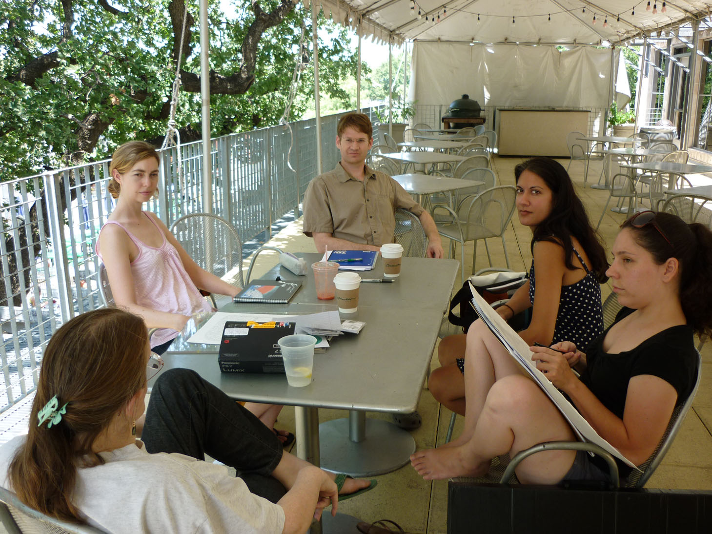 Some of the Inklings of Austin SCBWI during a recent Sunday a.m. huddle: Louise Shelby, Amy Farrier, Torran Anderson, Salima Alikhan and Marsha Riti