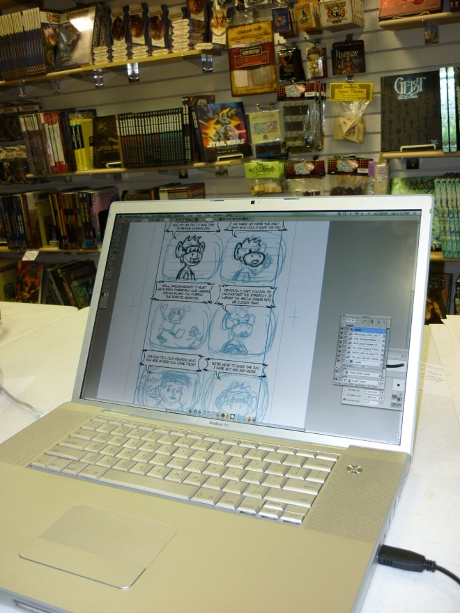 Erik's laptop with a panel from his new comic --work in progress.