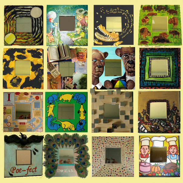 Illustrators decorated mirror frames for the silent auction.