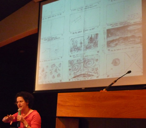 "Marla Frazee shows an early storyboard for ""All the World"""