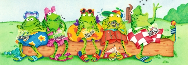 Frogs on Log spread by Priscilla Burris