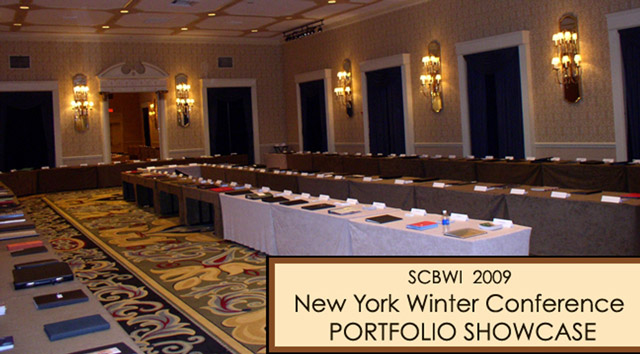 Portfolios on display at SCBWI National Winter Conference in New York