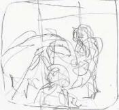 two sets of kids gestural drawing