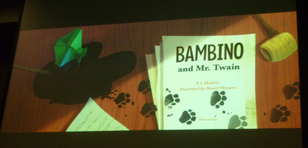 "By Daniel Miyares for ""Bambino and Mr. Twain"" by P.I. Maltbie (Charlesbridge Publishing)"