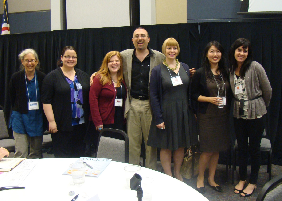 Faculty for the Houston SCBWI regional conference 2012 art director Susan Sherman, agent, Kathleen Ortiz, editor Jenne Abramowitz, author-illustrator Dan Yaccarino, editors Heather Alexander and Connie Hsu, and agent Jennifer Rofé. Photo by Marianne Dyson, Houston SCBWI