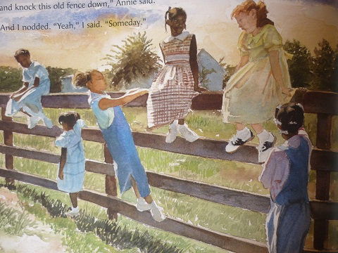 "From ""The Other Side"", watercolor illustration by E.B. Lewis"